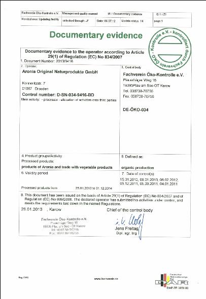 Bio Certifikat DE-OKO-034